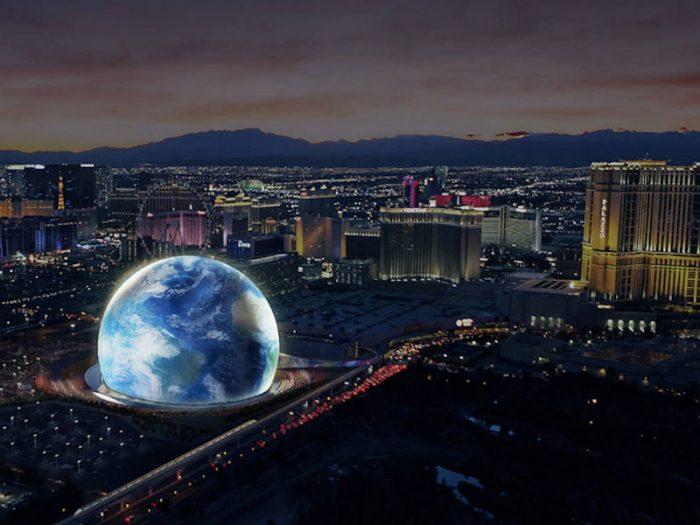 ベガスのマディソンスクエアガーデンこと、地球型多目的ホール「MSG Sphere」の完成予想写真。