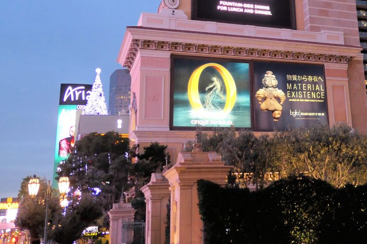 ベラージオホテルの縄文展の広告