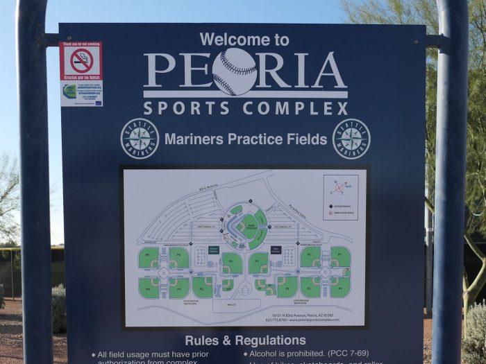 ピオリア・スポーツ・コンプレックス内の野球場の配置図