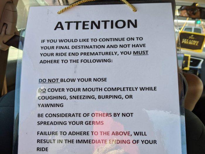 Uber の車内に掲示されていた警告文