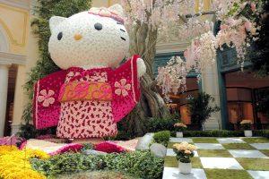 ベラージオホテルの室内植物園に登場したハローキティ。(2020年6月13日に撮影)