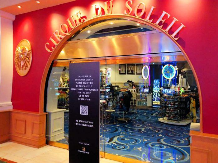 ベラージオホテル内のシルク・ドゥ・ソレイユのショップは閉鎖中。
