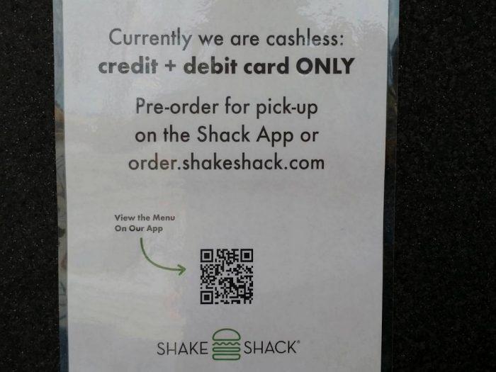 シェイク・シャックの支払いに関する注意書き