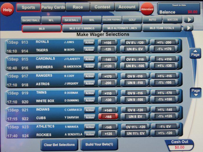 画面の上部にスポーツの種類が並んでいることがわかる。
