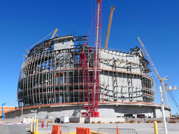 すでにここまで建設工事が進んでいる MSG Sphere。