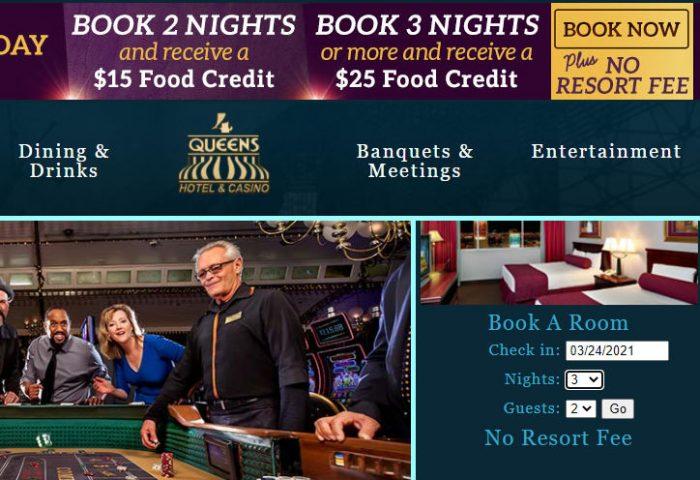 現在のフォークイーンズホテルの公式サイト。リゾートフィーを徴収していないことをアピールしていることがわかる。